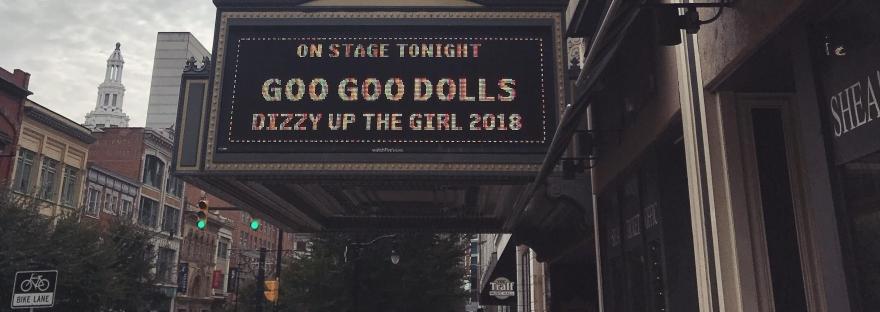 Goo Goo Dolls concert banner Dizzy Up the Girl at Sheas Buffalo